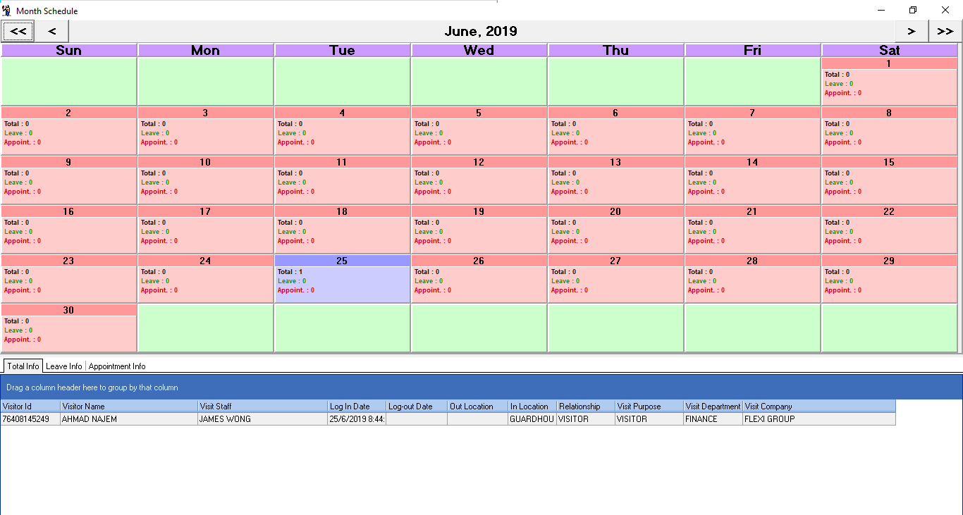 VMS - Month Schedule